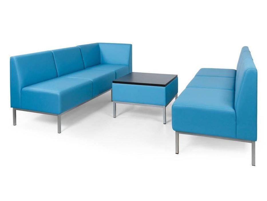 Евроформа: Компакт: комплект мягкой мебели №4 тк. Экокожа (синий)