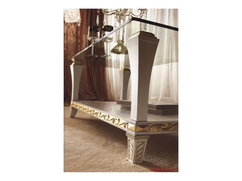 Gotha: Gold and Diamonds: стол журнальный центральный стекло  (белый, золото)
