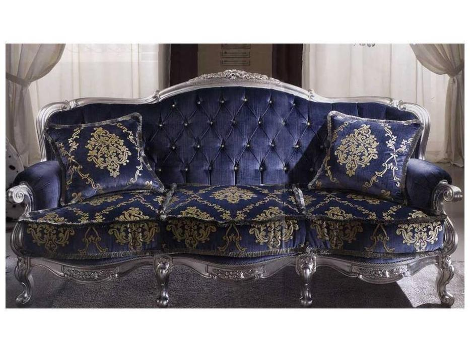 MobilPiu: Регина: диван 3-х местный ткань кат. VIP (синий, серебро)