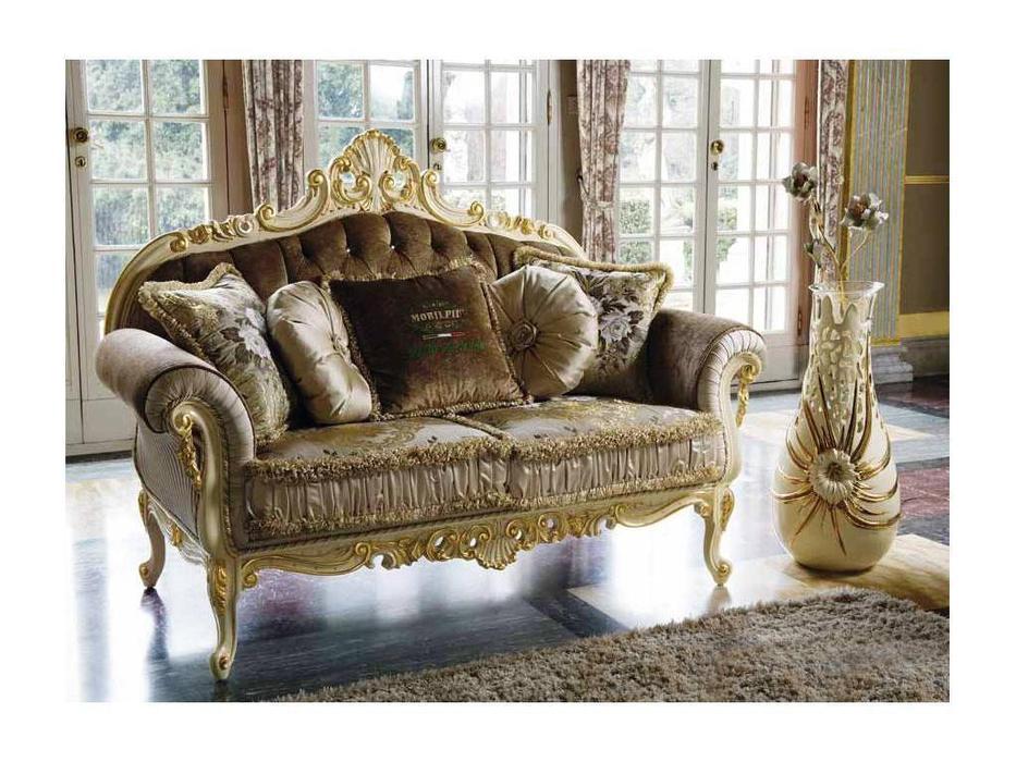 MobilPiu: Опера: диван 2-х местный (слоновая кость, золото) Lampasso seta 34062, onde wavy 20813