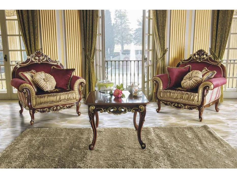 MobilPiu: Опера: кресло (орех, золото) ткань Emerald 05, Brooklyn 17, Mantegna 05