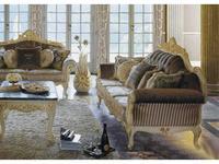 MobilPiu: Опера: диван 3-х местный (слоновая кость, золото) Lampasso seta 34062, onde wavy 20813