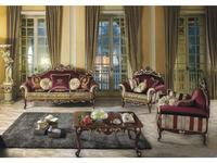 MobilPiu: Опера: диван 3-х местный (орех, золото)  ткань Emerald 05, Brooklyn 17, Mantegna 05