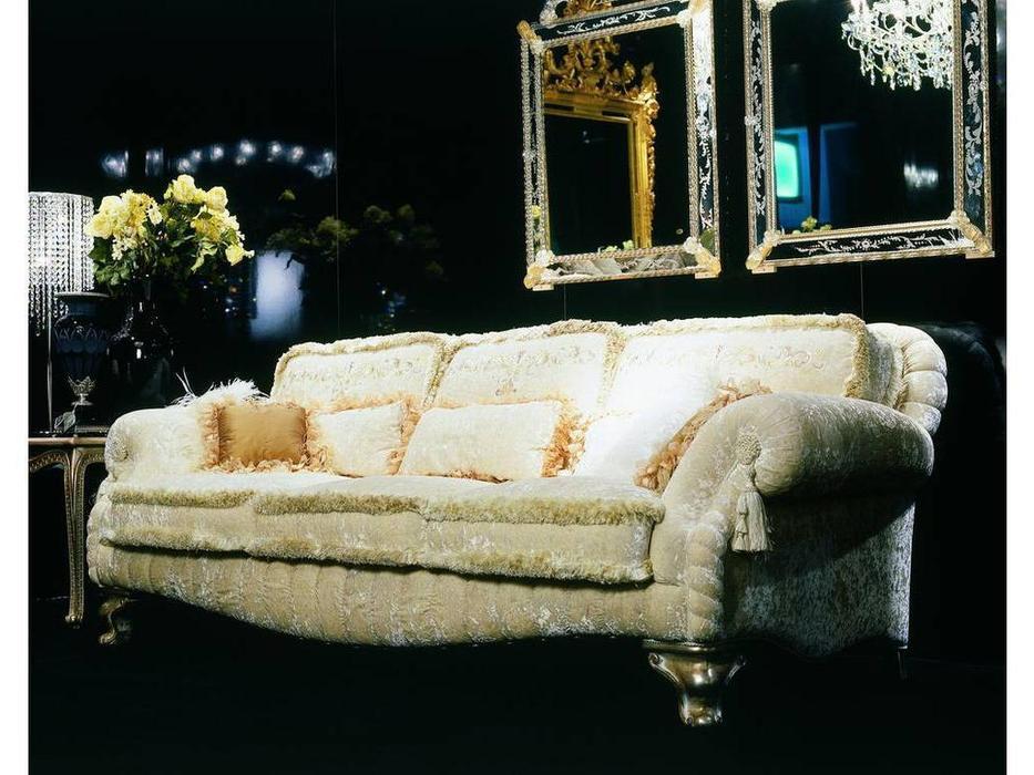 Zanaboni: Asia: диван 3-х местный bianco ткань кат.4 подушки с вышивкой