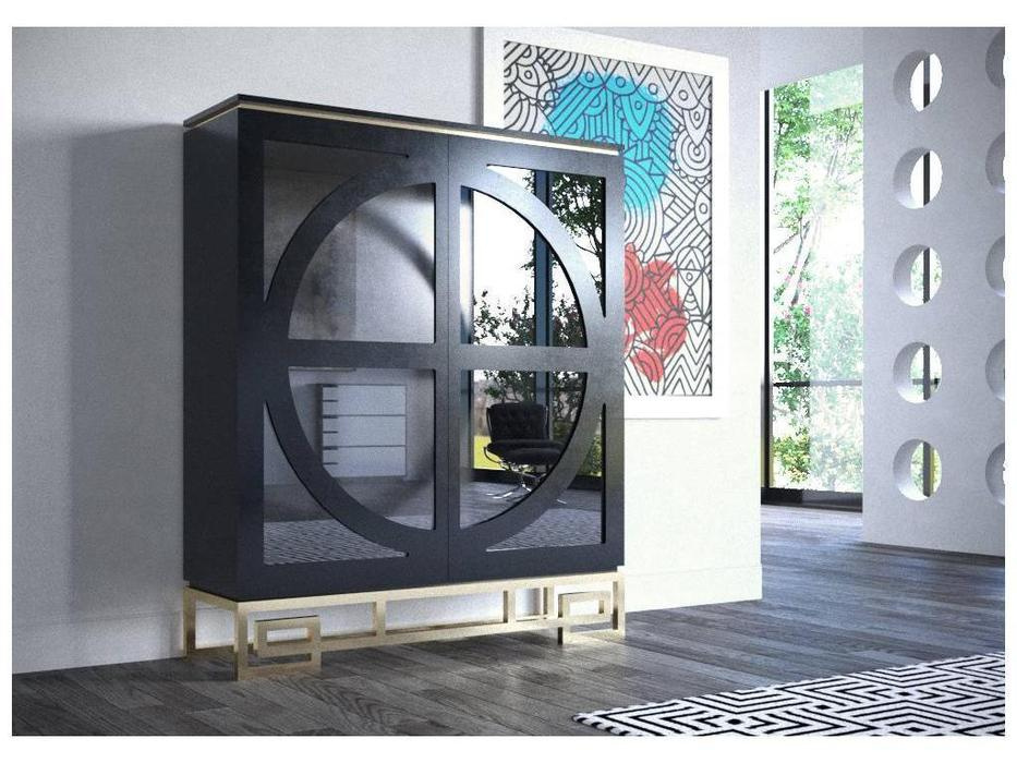 Coim: Marcuise: витрина 2-х дверная  Orleans (lacado negro mate, oro)