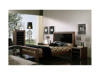 Coim: Madison Cristal: кровать 150х190  (орех, черное стекло)
