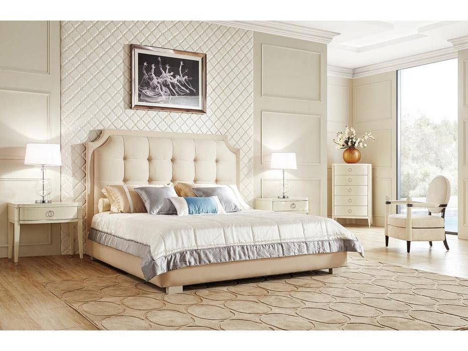 Fratelli Barri: Modena: кровать 180х200  (бежевый лак, бежевый велюр)