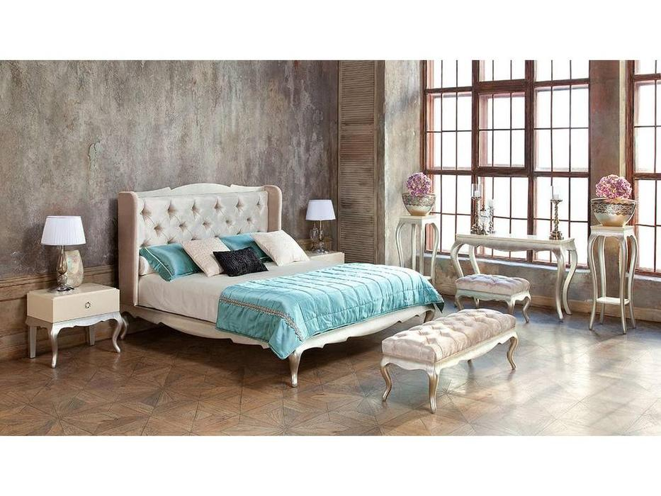 Fratelli Barri: Venezia: кровать 180х195   (слоновая кость, серебро)
