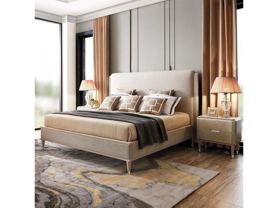 Fratelli Barri: Rimini: кровать  180х200 серебристо серый велюр (серебро)
