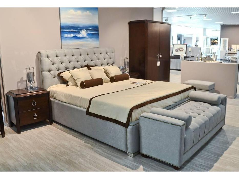 Fratelli Barri: Mestre: кровать двуспальная 180x200 с подъемным механизмом (серо-голубая рогожка)