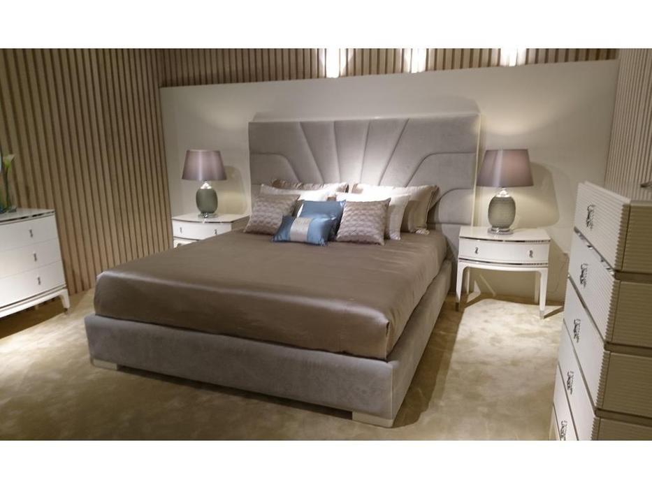 Fratelli Barri: Rimini: кровать  180х200 ткань NUANCE-92A (белый блестящий лак)
