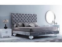 Fratelli Barri: Palermo: кровать  180х200 велюр бежевый (белый лак)