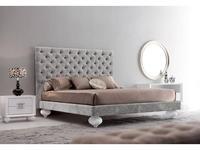 Fratelli Barri: Palermo: кровать  180х200 велюр серебристый (белый лак, велюр)