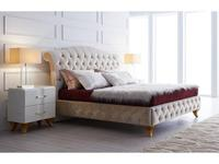 Fratelli Barri: Rimini: кровать 180х200  ткань бежевый велюр (бежевый)