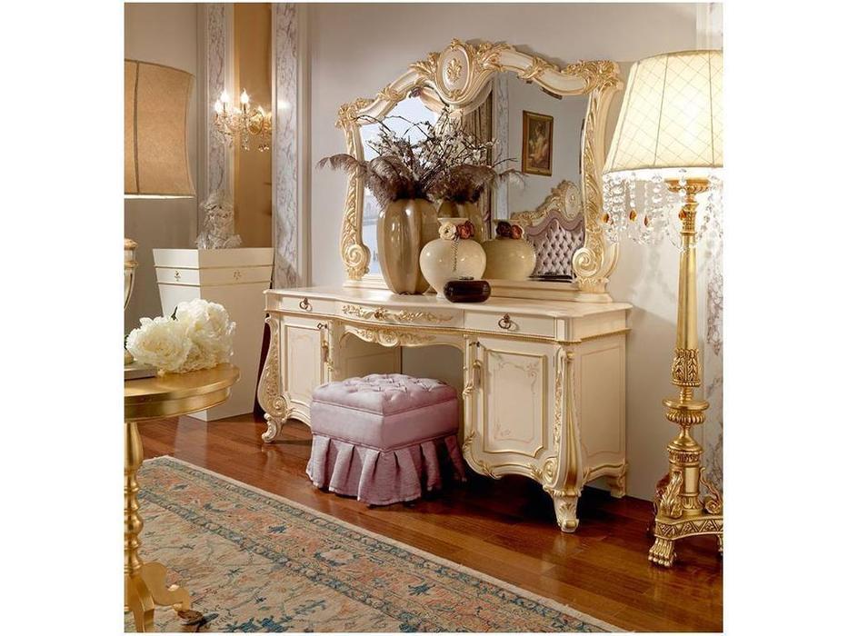 Barnini Oseo: Firenze: туалетный стол с зеркалом  белый с золотым украшением
