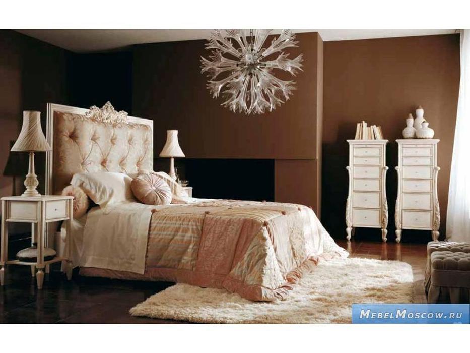 Volpi: Notti: кровать Doroteo 160х190  дерево class 4. ткань cat. B
