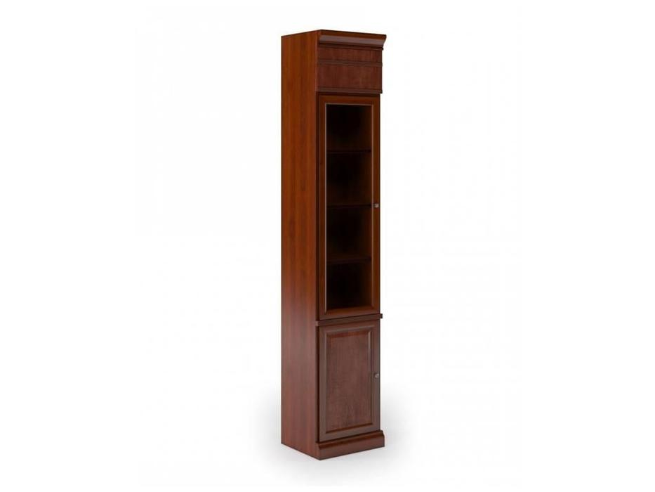 Monarch: шкаф книжный  узкий 1 стекл.дв. (вишня)