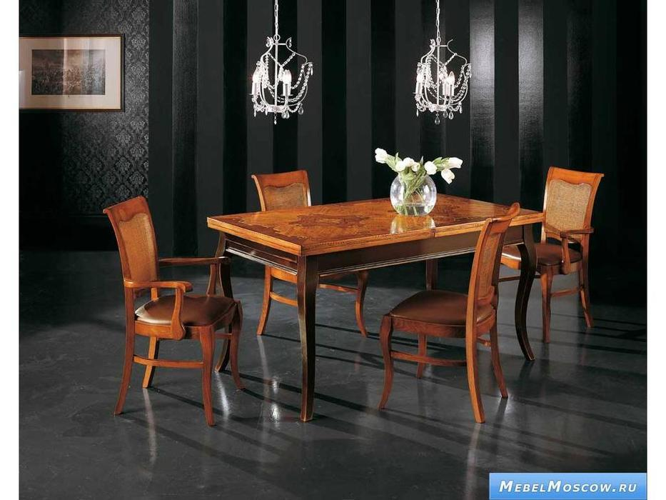 V. Villanova: стул обитый кожей спинка в рогожке  (cilegio madeira)