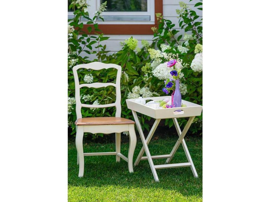 Mobilier de Maison: Belveder: стул с деревянным сиденьем  (белая карамель)