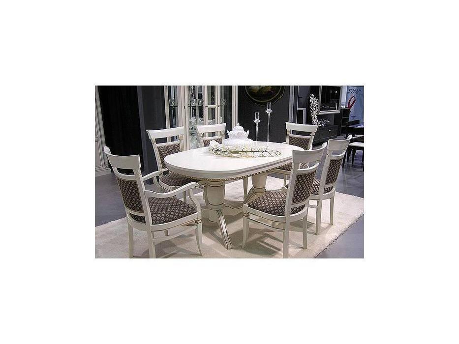 Свобода: Флоренция: стол обеденный овальный раскладной 160/240  (слоновая кость, золото)