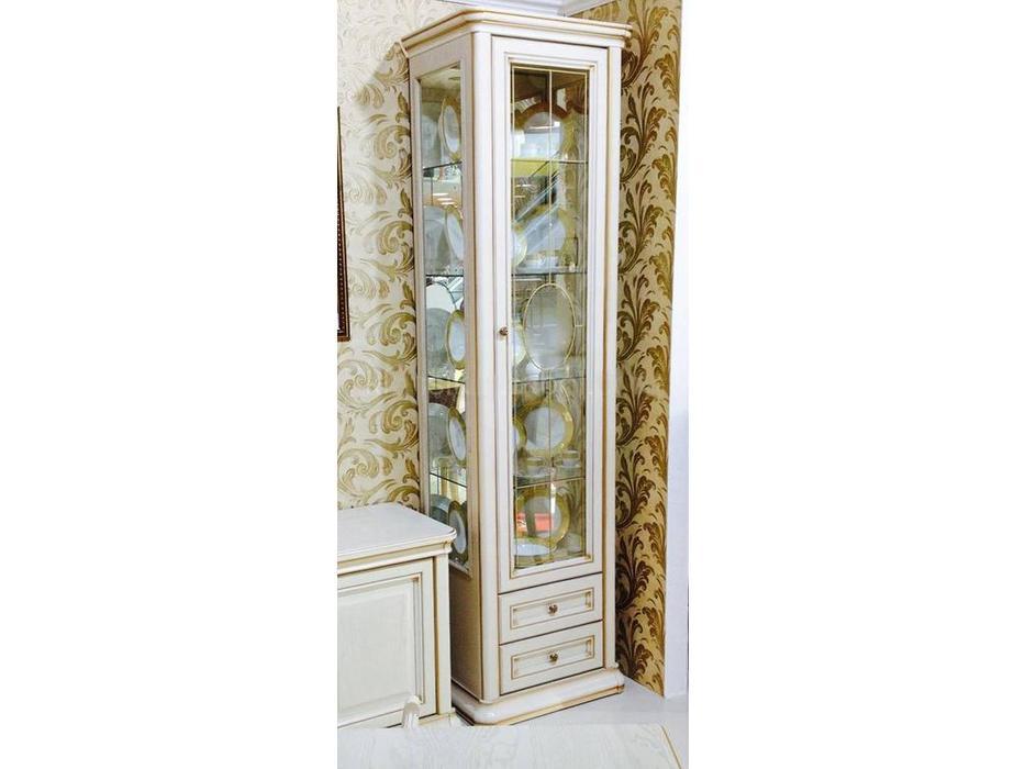 Liberty: Сильвия: витрина 1 дверная  (белый ясень, золотая патина)