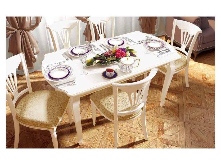 Liberty: Сильвия: стол обеденный  раскладной (белый ясень, золотая патина)