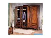 Simex: Regallis: шкаф 4 дверный с зеркалом  (орех, инкрустация)