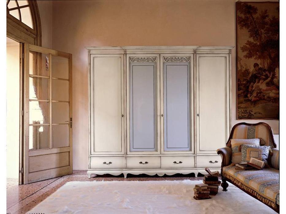 Cavio: Madeira: шкаф 4-х дверный 4 ящика с матовым стеклом  (белый патинированный)