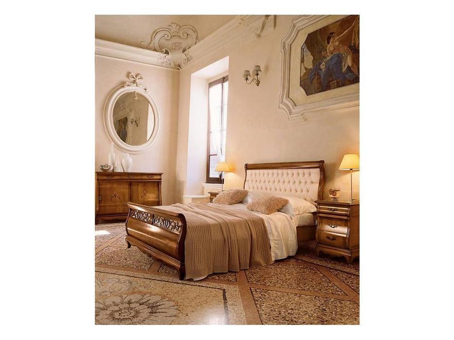 Cavio: Madeira Intarsio: кровать 160х200 Мадейра корич.кож.изг.и выс.изн.  (черешня мадейра)