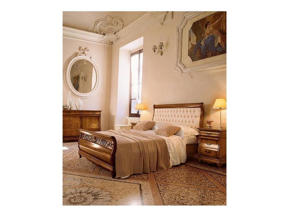 Cavio: Madeira Intarsio: кровать 180х200 Мадейра беж.кож.изг.и низ.изн.  (череш мадейра)