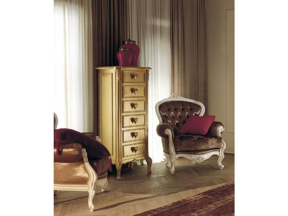 Cavio: Benedetta: комод высокий 6 ящиков  (золотая фольга)