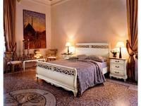 Cavio: Madeira: кровать 160х200 с беж.кожанным изг. и выс.изн.  (белый патинированный)