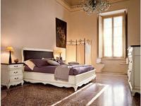 Cavio: Madeira: кровать 160х200 с корич.кож.изг. и низ. изножьем  (белый патинированный)