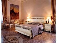 Cavio: Madeira: кровать 160х200 с корич.кож.изг. и выс. изножьем  (белый патинированный)