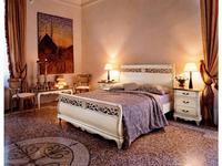 Cavio: Madeira: кровать 180х200 с бежевым кож.изг. и выс.изн.  (белый патинированный)