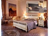 Cavio: Madeira: кровать 180х200 с корич.кож.изг. и выс.изн.  (белый патинированный)