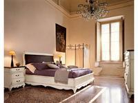 Cavio: Madeira: кровать 180х200 с корич.кож.изг. и низ.изн.  (белый патинированный)