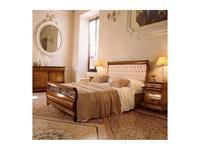 Cavio: Madeira Intarsio: кровать 160х200 Мадейра беж.кож.изг. и выс изн.  (черешня мадейра)