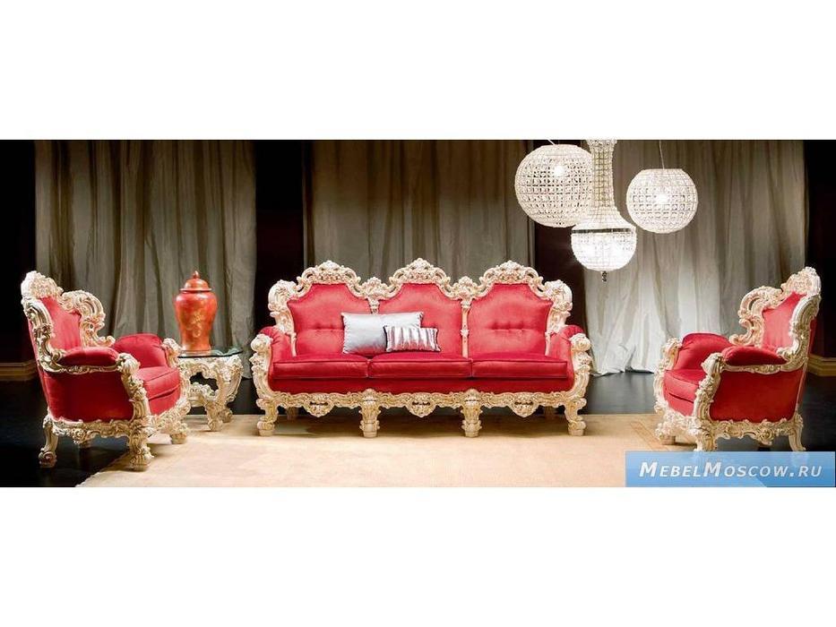 Silik: Orfeo: диван 3-х местный  (красный, слоновая кость)