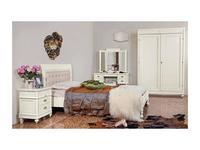 Monte Cristo: Maria Silva: кровать 160х200 с кожаным изголовьем  (avorio consumato)
