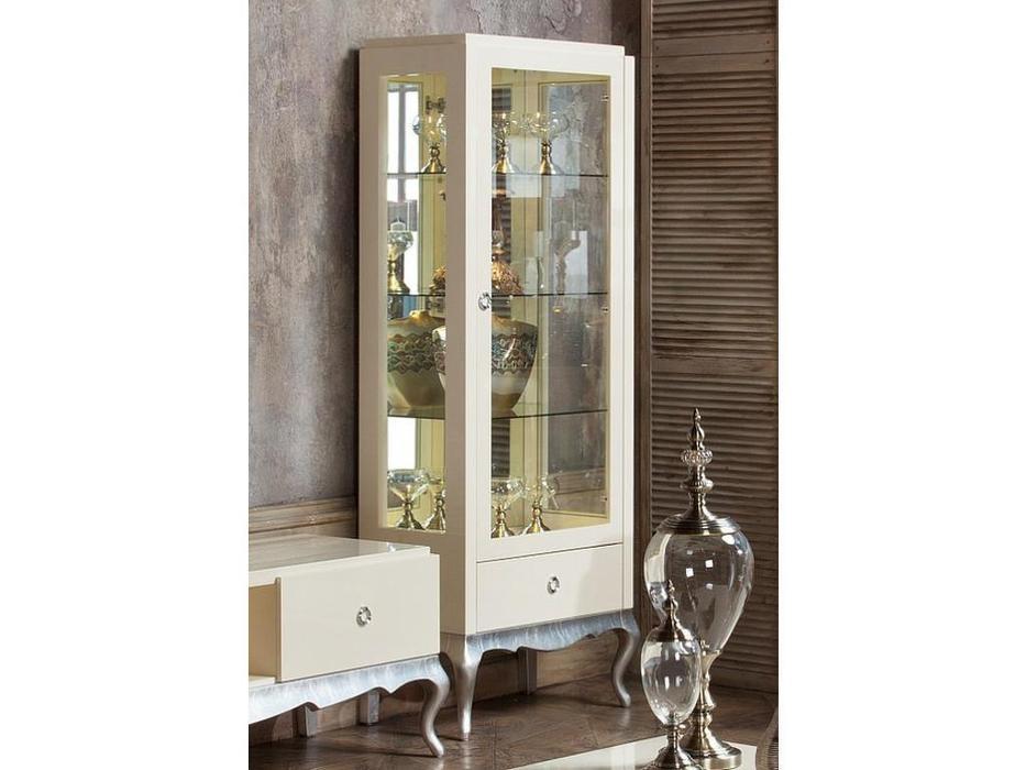 Fratelli Barri: Venezia: витрина 1 дверная правая  (кремовый лак, серебро)