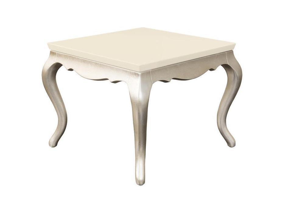 Fratelli Barri: Venezia: столик приставной  (перламутровый кремовый лак, серебро)