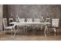 Fratelli Barri: Venezia: стол обеденный  раскладной (кремовый лак, серебро)