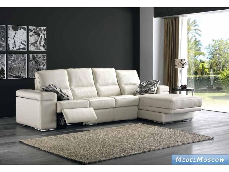 M.Soria: Salonica: диван с оттоманкой четырехместный с реклайнером кожа