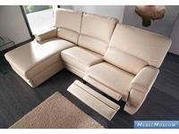 M.Soria: Nimes: диван с оттоманкой трехместный с реклайнером кожа