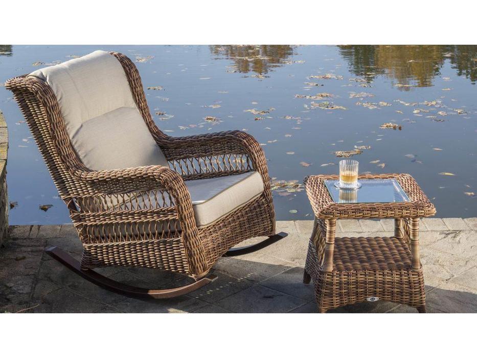 Skylinedesign: Ebony: кресло-качалка с подушками  (RED PULUT CANVASS VELUM 5498)