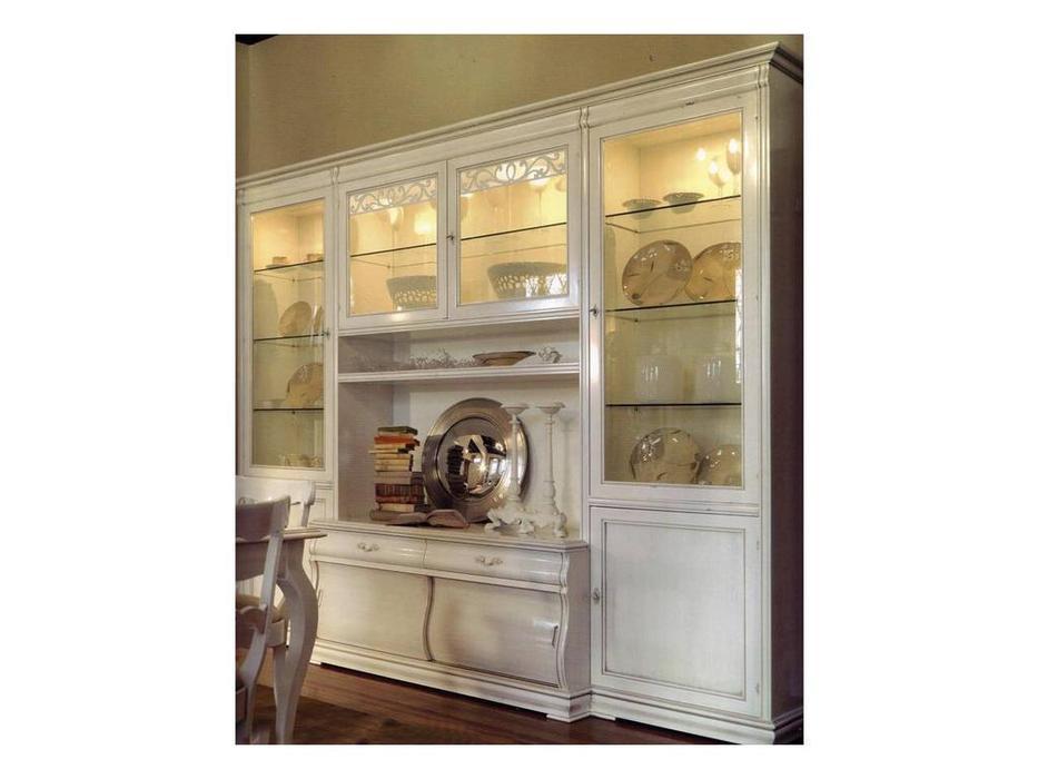 Cavio: Madeira Bianco: стенка в гостиную  288 (белый лак, серебро)