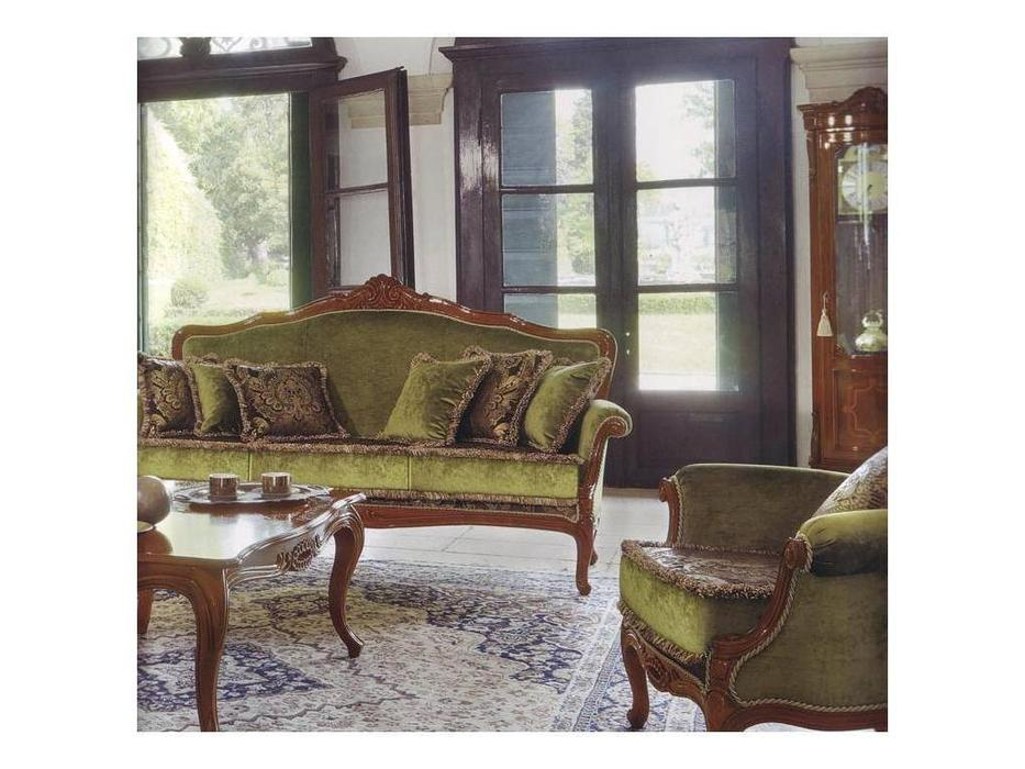 Cavio: Idogi: диван 3-х местный  ткань (черешня, зеленый плюш)