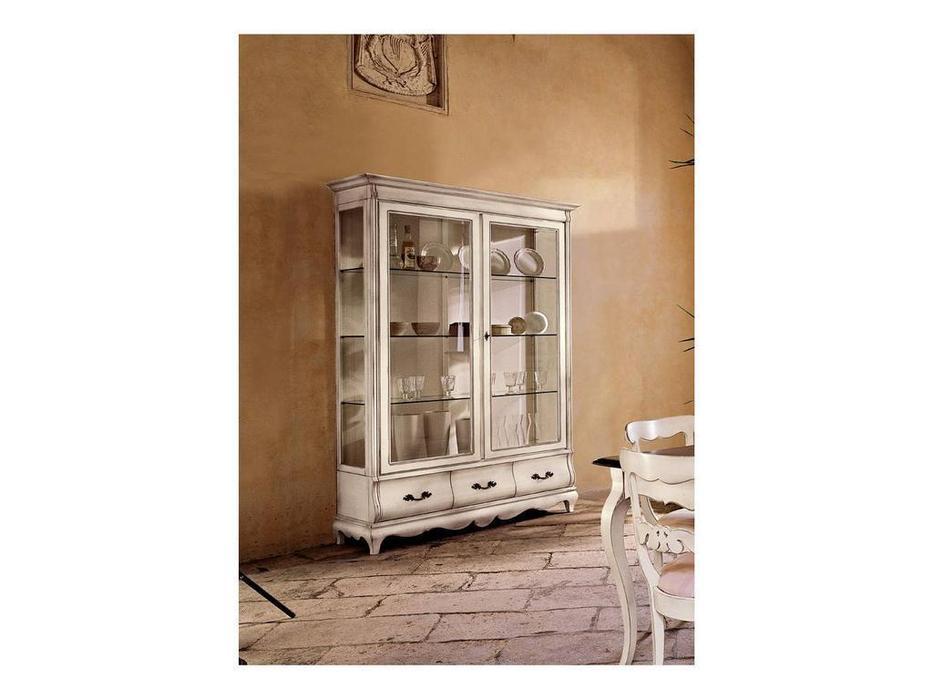 Cavio: Madeira Bianco: витрина 2-х дверная 3 ящика  (белый, черешня)