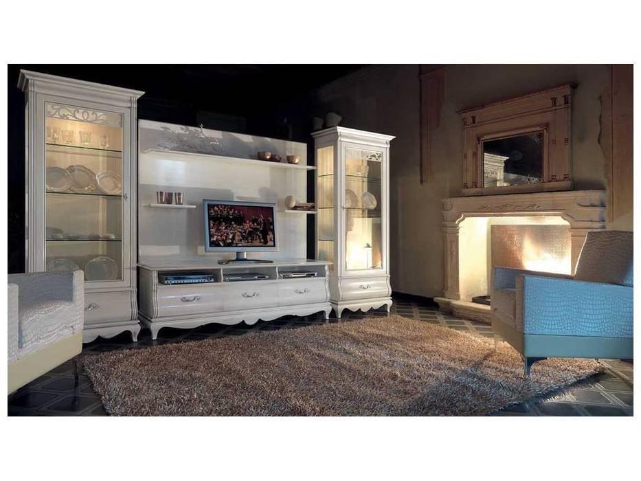 Cavio: Madeira Bianco: тумба под телевизор 3 ящика  (белый патинированный)